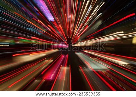 Night lights of the Bangkok city - stock photo