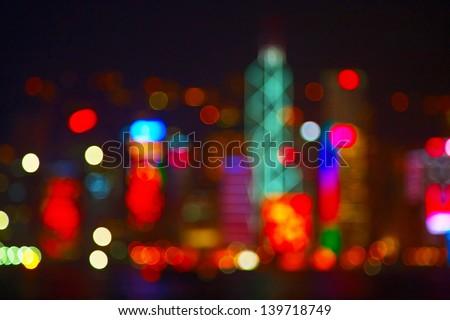 Night lights of the Hong Kong city - stock photo