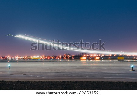 Night lights tracks of lights in the movement of aircraft on long exposure. & Light Track Stock Images Royalty-Free Images u0026 Vectors | Shutterstock azcodes.com