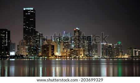 night Miami scrapers - stock photo