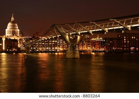 Night Millenium Bridge with nice illumination - stock photo