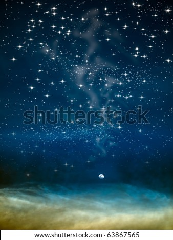 night moon in big space and star - stock photo