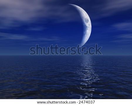 Night Moon Over Sea - stock photo