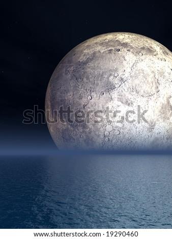 Night Moon Over Sea - Illustration - stock photo