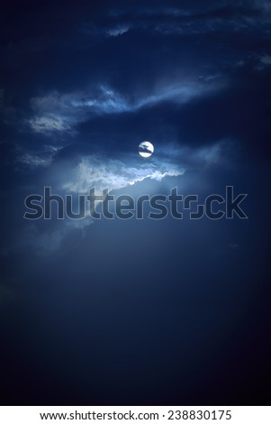 Night moon with a dark clouds - stock photo