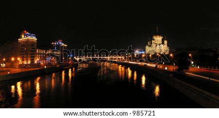 Night Moscow. A temple of the Christ of the Savior. The Moscow - river