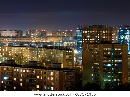 Night Moscow cityscape from rooftop. Residential dormitory area at night. Night view from the roof