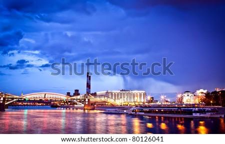 Night Moscow cityscape taken fron quay - stock photo