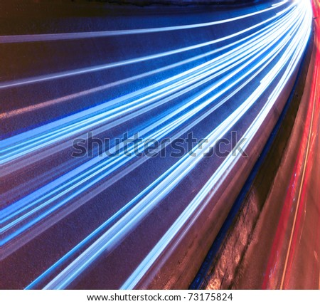 Night motion on urban streets - stock photo