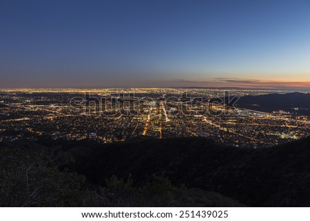 Night mountaintop view of Los Angeles and Glendale, California - stock photo