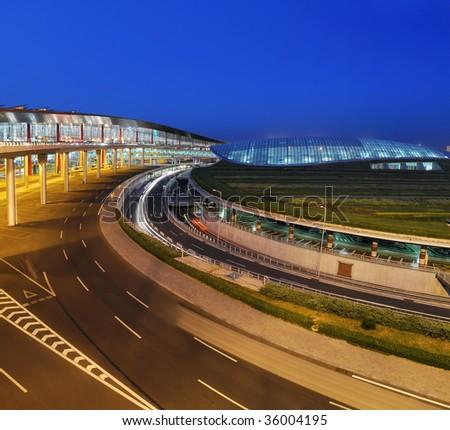 Night of  Beijing Airport - stock photo