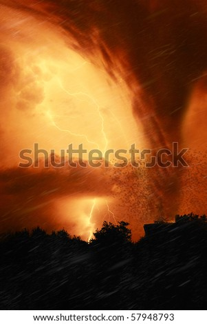 night of fire with tornado - stock photo