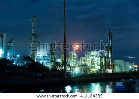Night of Petrochemical industry - stock photo