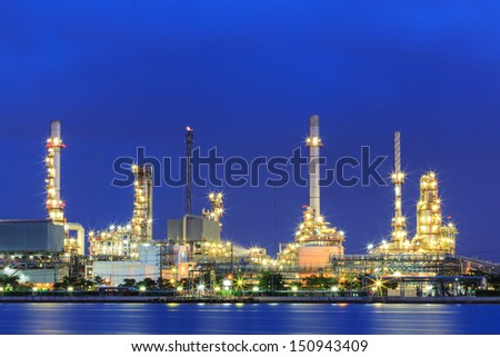 night oil and gas factory pipeline - stock photo