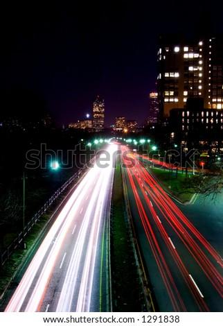 Night on highway. Boston - stock photo