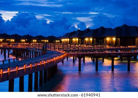 Night on maldives - stock photo