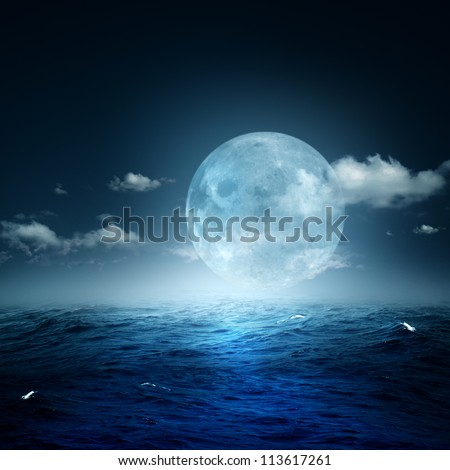 Night on the sea, natural backgrounds - stock photo