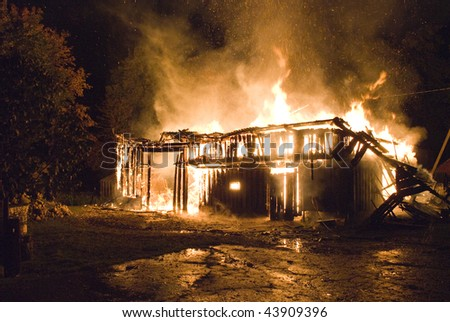Night open flame burning house