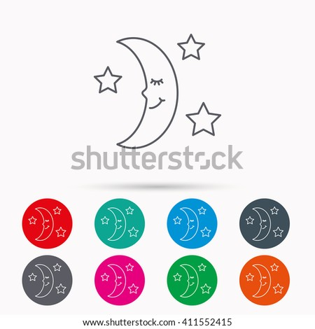 Night or sleep icon. Moon and stars sign. Crescent astronomy symbol. Linear icons in circles on white background.