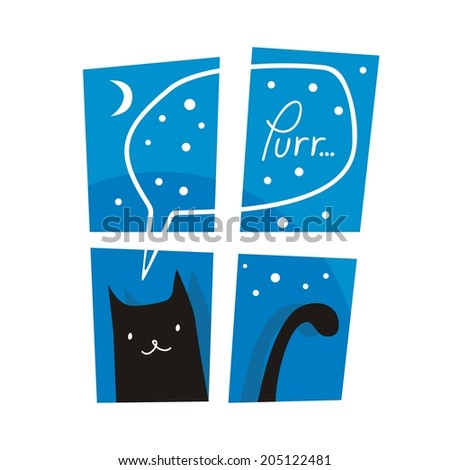 Night or winter scene with cute cat purring outside a window - stock photo