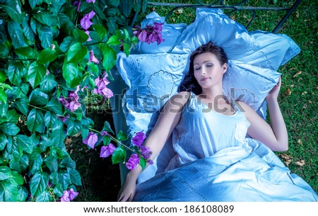 night outdoor dreaming female - stock photo