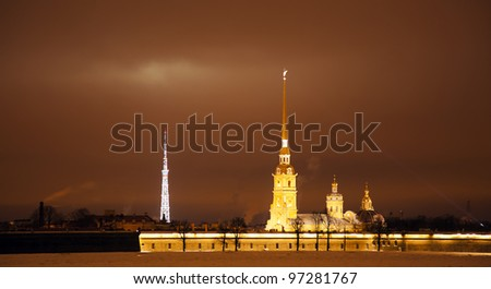 night over St. Petersburg - stock photo