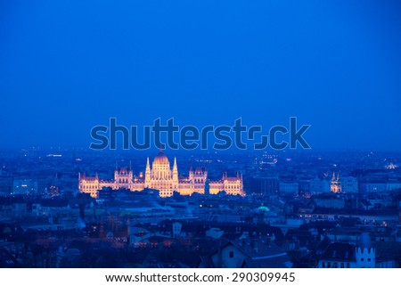 Night panorama Budapest, Hungary - stock photo