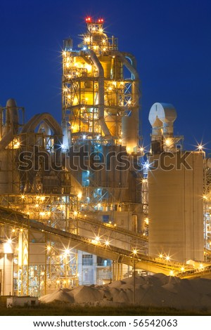 Night panorama image of chemical plant at night. Modern factory. - stock photo