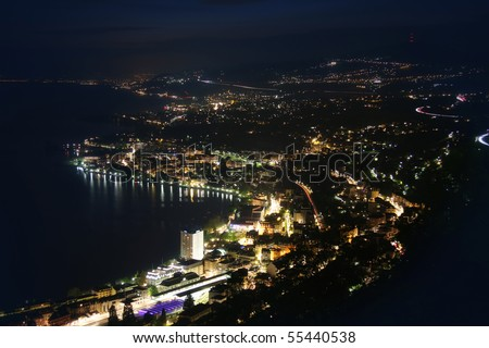 Night panorama Montreux, Vevey and swiss riviera from Caux, Switzerland - stock photo