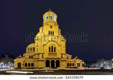 Night panorama of Alexander Nevsky Cathedral, Sofia, Bulgaria - stock photo