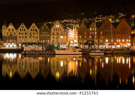 Night panorama of Bergen, Norway - stock photo