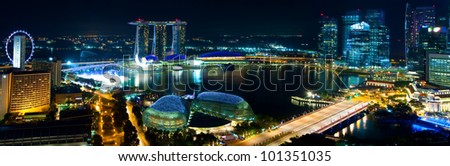 Night Panorama of downtown Singapore - stock photo