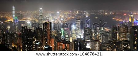 Night panorama of Hong Kong from Victoria peak - stock photo