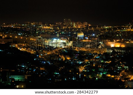 Night panorama of Jerusalem city, Israel