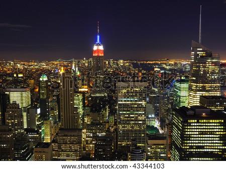 Night Panorama of Manhattan in New York City - stock photo