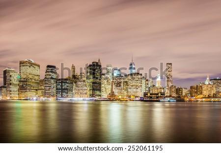 Night panorama of Manhattan in New York, USA - stock photo