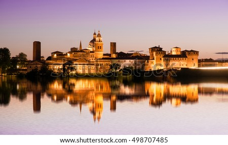 Night panorama of MANTOVA, medieval city of the north of italy
