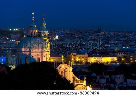 Night panorama of Prague, Czech Republic. - stock photo