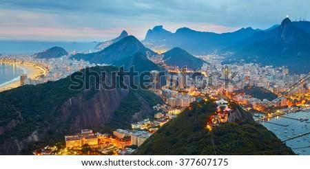 Night panorama of Rio de Janeiro, Brazil - stock photo
