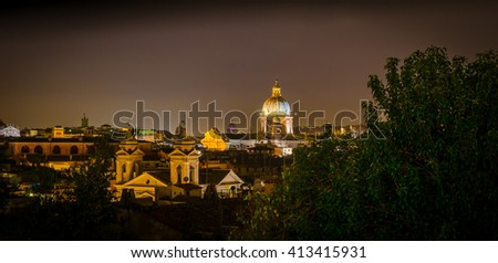 Night panorama of Rome, Italy