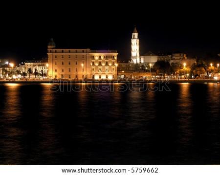 Night panorama of Split - stock photo