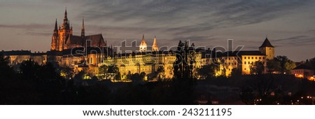 Night panorama of the castle and cathedral of Prague, Czech Republic. - stock photo