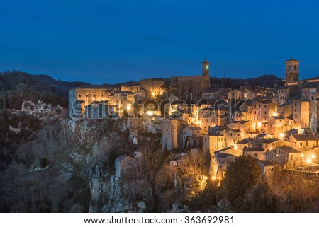 Night panorama of the Etruscan medieval town in Tuscany, Sorano.