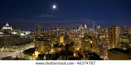 Night Panorama of Toronto skyline - stock photo