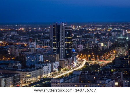 Night panorama of Warsaw city center. Warsaw is a capital of Poland