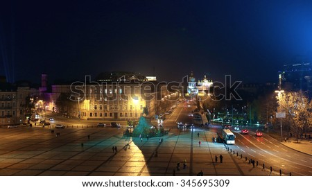 Night panoramic view at St. Michael's Golden-domed monastery, Bohdan Khmelnitskiy monument and St. Sophia square from Bell tower of the Saint Sophia Cathedral in Kiev, Ukraine. - stock photo