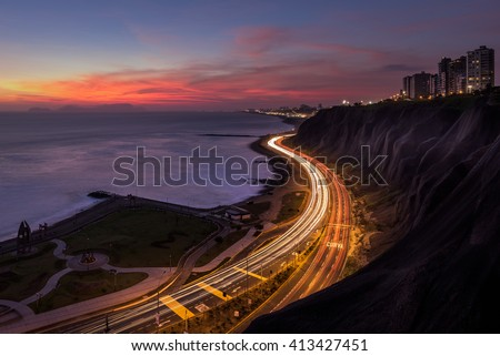 Night panoramic view of the Costa Verde high way at the sunset, in Lima, Peru.