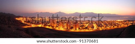 Night panoramic view on Eilat (Israel)