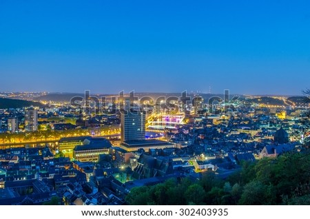 night panoramic view over city of liege in belgium from top of local citadel.