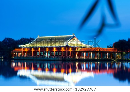 Night, pavilions on a river, Chinese architecture .